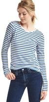 Stripe long sleeve feather tee