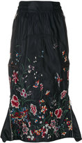 Sacai floral embroidered drawstring skirt