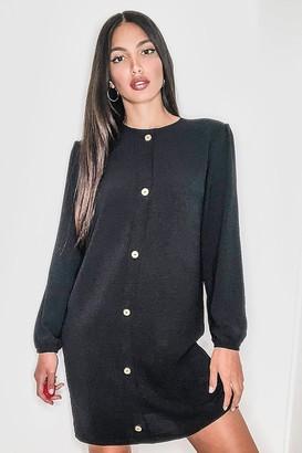 boohoo Tall Linen Look Woven Button Through Shift Dress