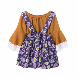 puseky Baby Girl Kids Off Shoulder Flare Sleeve Shirt + Floral Suspender Skirt Toddler Outfits Set (18M-24M