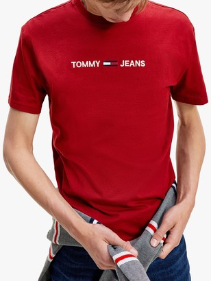 Tommy Hilfiger Tommy Jeans Organic Cotton Logo Crew Neck Tee, Wine Red