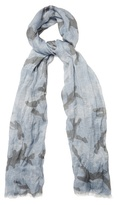 Valentino Linen Camouflage-print Scarf