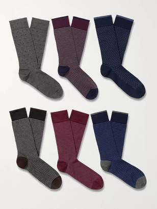 Marcoliani Milano Six-Pack Cotton-Blend Socks
