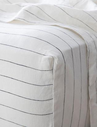 Lulu & Georgia Cultiver Linen Bedding, Pencil Stripe Fitted Sheet