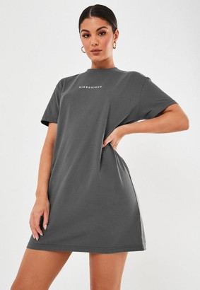 Missguided Dark Gray T Shirt Dress