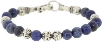 John Varvatos Sterling Silver and Sodalite Bead Bracelet