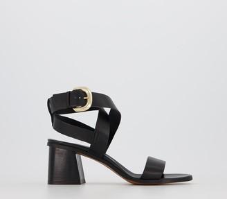 Office Make It Casual Block Heel Sandals Black Leather