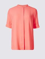 Classic Hidden Placket Short Sleeve Shirt