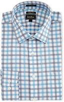 Neiman Marcus Trim-Fit Regular-Finish Check Dress Shirt, Light Blue