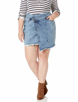 City Chic Women's Apparel Women's Plus Size Step Hemmed Denim Skirt