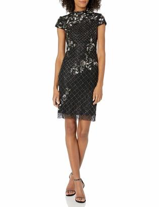 Adrianna Papell Women's Mock Neck Short Sleeve Beaded Cocktail Dress