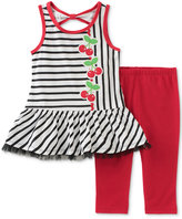 Kids Headquarters 2-Pc. Striped Cherries Tunic & Capri Leggings Set, Baby Girls (0-24 months)