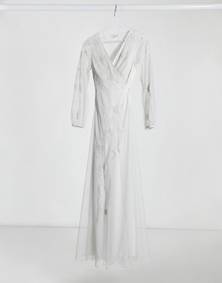 Frock and Frill embroidered wrap maxi dress in ivory