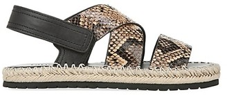 Vince Tenison Snakeskin-Embossed Leather Platform Sandals