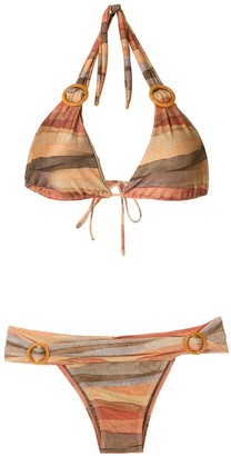 BRIGITTE Striped Buckle Embellished Bikini Set