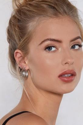 Nasty Gal Womens Silver Hoop Earring Sets