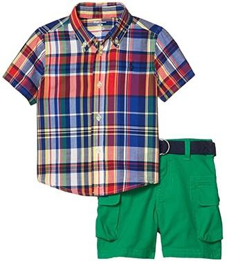 Polo Ralph Lauren Kids Madras Top, Belt Shorts Set (Infant) (Red Multi) Boy's Active Sets