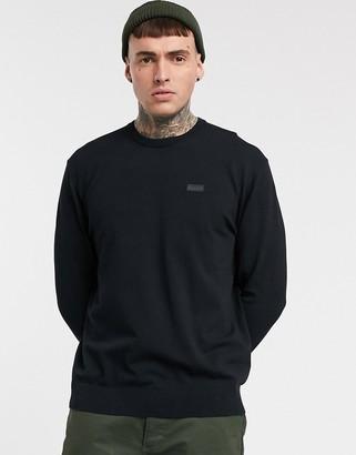 HUGO San Claudio fine knit cotton sweater in black