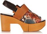 Robert Clergerie Carine wooden-platform leather sandals
