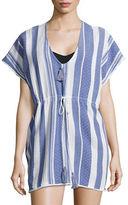 Echo Striped Cotton Cover-Up Poncho