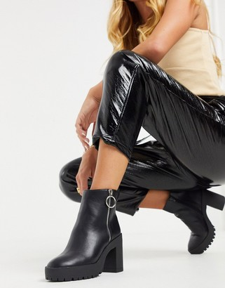 London Rebel platform chunky ankle boots in black with zip