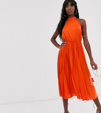 ASOS DESIGN Tall Halter Pleated Waisted Midi Dress