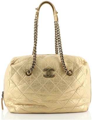 Chanel Secret Tag Bowling Bag Quilted Aged Calfskin Large