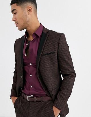 Jack and Jones jacquard satin lapel suit jacket in black