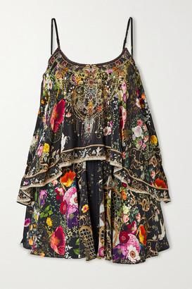 Camilla Layered Crystal-embellished Printed Silk Crepe De Chine Playsuit - Black