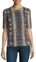 Rebecca Taylor Snakeskin-Print Short-Sleeve Sweater, Pink Champagne