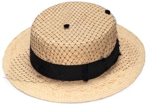 Justine Hats Straw Boater Hat With Veil