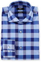 BOSS Slim-Fit Easy-Iron Large-Check Dress Shirt, Navy