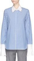Muveil Detachable embellished collar and cuff stripe shirt