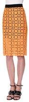 MSGM Geometric Macrame Pencil Skirt, Yellow