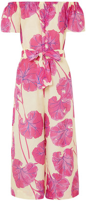 Diane von Furstenberg Helena Off-the-shoulder Printed Cotton And Silk-blend Jumpsuit