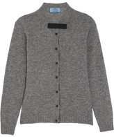 Prada Bow-embellished Wool Cardigan - Gray