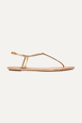 Rene Caovilla Diana Crystal-embellished Satin Sandals - Gold