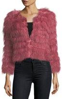 Alice + Olivia Fawn Fur Long-Sleeve Cropped Jacket