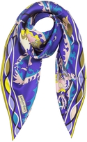 Emilio Pucci Blue and Yellow Silk Ranuncoli Print Square Scarf