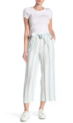 Frame Stripe Print Waist Tie Linen Pants