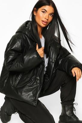 boohoo Petite PU Puffer Jacket