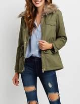 Charlotte Russe Fur Collar Fleece Line Anorak Jacket