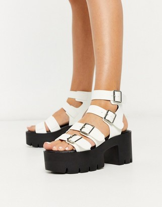 Truffle Collection buckle platform heeled sandals in white