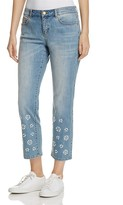 MICHAEL Michael Kors Embellished Crop Jeans in Light Vintage Wash