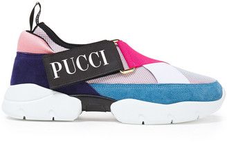 Emilio Pucci Color-block Neoprene, Suede And Mesh Slip-on Sneakers