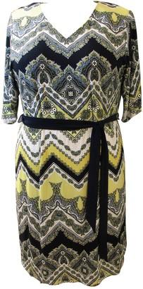 Sandra Darren Belted Paisley V-Neck Dress (Plus Size)
