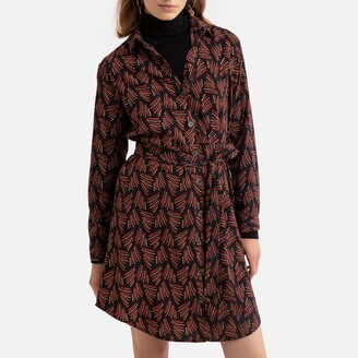 Only Printed Mini Shirt-Dress with Tie-Waist