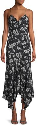 Michael Kors Floral Silk Handkerchief Midi Dress
