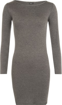 WearAll Ladies Plus Size Bodycon Stretch Long Sleeve Dress Womens Plain Top Black 16/18