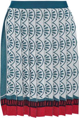 Mary Katrantzou Exene Pleated Metallic Jacquard-knit Mini Skirt